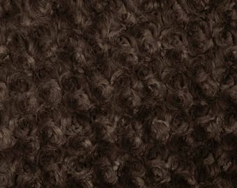 Brown Rosebud Cuddle Minky Fabric, Sold by The Yard