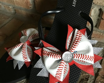 Custom Women's/Girls Real Baseball Flip Flops--Great Baseball Gift/ Baseball Mom Gift