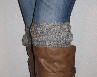 Unique Boot cuffs crochet PATTERN  Musthave! Bestseller! Scalloped edge Design with crocheted flower - INSTANT download! Pdf DIY Great gift!