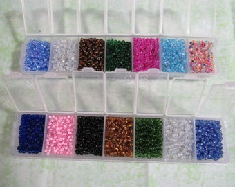 1 Glass Seed Beads Assorted Colors Kit Size 6/0 (B383)