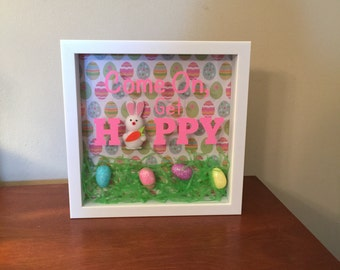 Come On, Get Hoppy Easter Spring Shadow Box Art