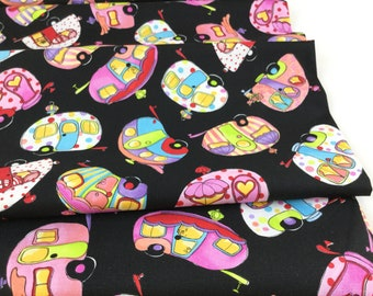 New Fabric ~ Tipsy Trailer Black Color ~   Happy Camper Collection By Loralie Designs Fabric