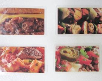 Food Magnets, Meat Lovers Magnets, Kitchen Magnets, Burger Magnet, Set of Four