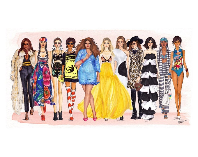 Walk the Runway print. My favorite 2015 fashion shows illustration print, wall decor various designer clothes