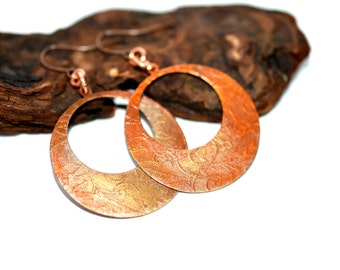 Copper Hoop Earrings, Etched Copper Earrings, Copper Jewelry, Large Hoop earrings, Copper earrings, dangle earrings, statement earrings