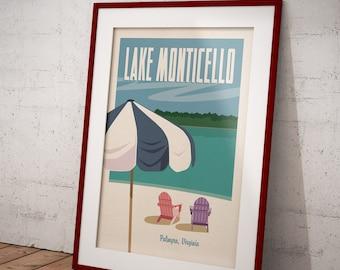 Lake Monticello, Palmyra, Virginia, Charlottesville Locale Retro Travel Poster