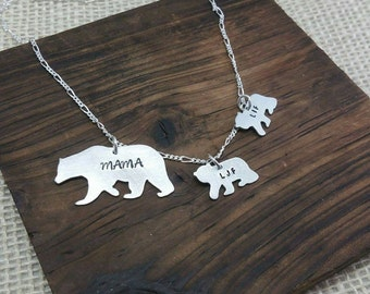 Mama Bear Necklace, Mama Bear Jewelry , Bear Cubs Necklace, Bear Cub Jewelry, Mothers Necklace, Mom Necklace, Mama Bear and her Cubs