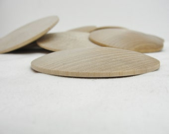 "12 Large wooden domed disks 2 7/8"", wooden Circle, domed disc, 7/16"" thick unfinished DIY"