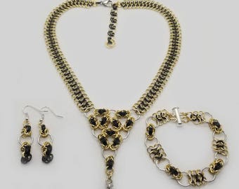 Gold and Black Byzantine and 4-in-1 Triforce Chainmaille Jewelry Set including a Necklace, Bracelet and Earrings