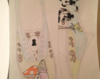 Handmade Alice in wonderland inspired Shoes