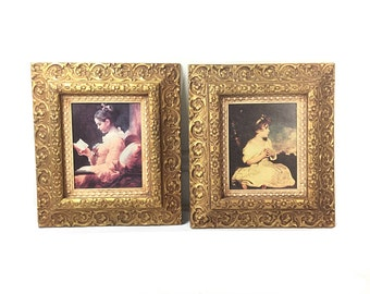 Hollywood regency decor, Large Wall hanging, large gold frames,  women's portrait, baroque picture frames,  Hollywood regency decor
