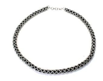 Chainmaille Necklace Choker Over Leather