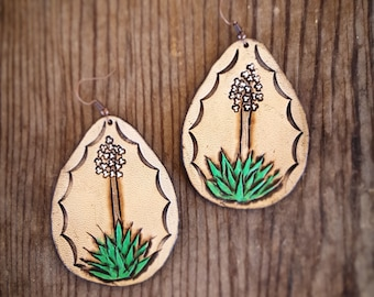 Leather yucca cactus earrings