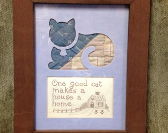 "Quilted Folk Art Cat Framed Print, ""A Good Cat Makes a House a Home"" Print,  Folk Heart Designs,  Quilted Cat Print"