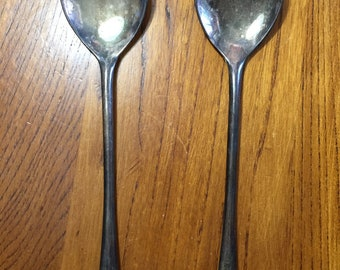 """Antique Silver Plated Italian Salad Utensils, Fork and Spoon, 9"""""""