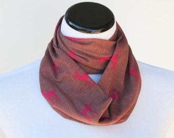 Kids infinity scarf cognac burgundy maroon deer fawn circle scarf for children - deer loop toddler infant scarf - gift for boy and girl