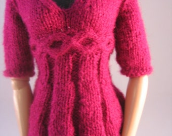 "Doll Clothes Plum Medallion Sweater Hand Knit fits 16"" doll such as Tonner dolls"