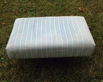 Vintage footstool, vintage ottoman • hairpin legs