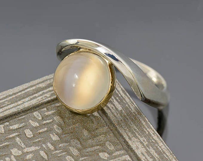 Elegant White Moonstone Ring in Sterlium Silver and 14 kt Yellow Gold