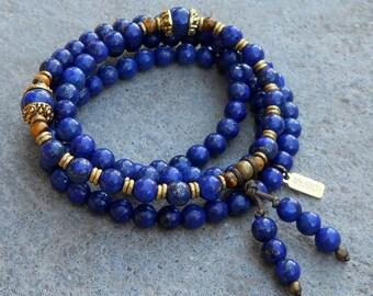 Mitgefühl, Lapis Lazuli 108 Perlen Mala Armband oder Halskette   Mala Wickelarmband