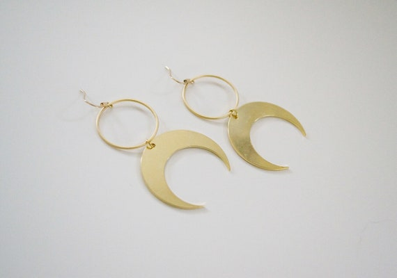 Venus Earring // gold plated crescent moon statement earring