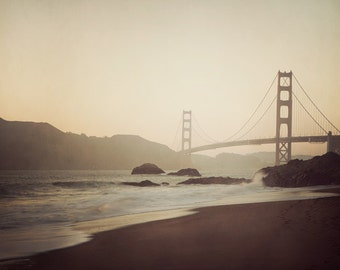 San Francisco Photography, Golden Gate Bridge at Sunset, California, Travel Photography, Architecture Art  - Evening Suspended
