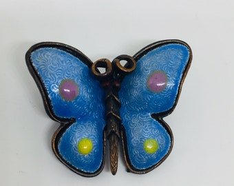 Brooch pin  Vintage  Butterfly. Brooch   Blue  enamell. Brooch   figural animal. Wedding jewelry. Gift for her