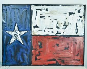 "Texas Flag - original 30"" x 40"" textured acrylic mixed media painting"