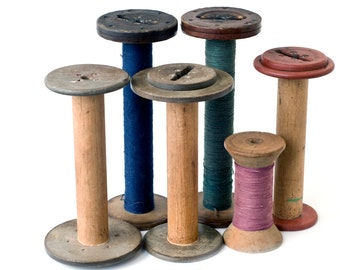 Large Wooden Sewing Thread Spools Vintage Antique