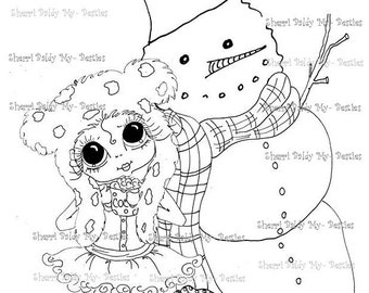 INSTANT DOWNLOAD Digital Digi Stamps Big Eye Big Head Dolls Snow Girl and Snow Man By Sherri Baldy