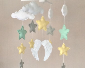 Baby mobile - Baby girl mobile - Cot mobile - Angel wings, clouds and stars mobile - Cloud Mobile - Nursery Decor - Clouds and stars