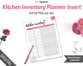 Kitchen Inventory Printable, Kitchen Inventory Printable Set, Kitchen Inventory Checklist, Kitchen Inventory PDF, A4, A5, US Letter