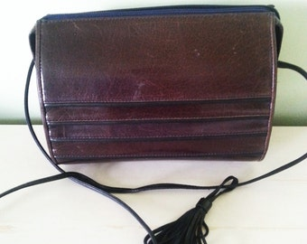Vintage brown leather purse, vintage shoulder bag, vintage leather purse, 1980's brown leather purse,1980's vintage brown purse. A14