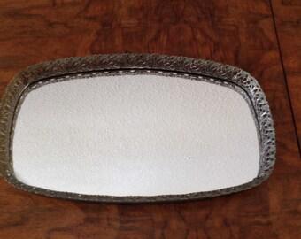 Vintage Mirror Tray, Gold Filigree  Perfume Tray, Nail Polish Tray, Candle Tray, Dresser Tray