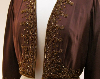 Vintage Jacket Bergdorf Goodman 1950s Beaded great for Evening Holiday Parties