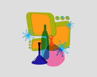 Mod Bottles Art Print - retro art - mid mod - Mid Century Modern - Mid Century kitsch - vintage style - cocktails - starburst art - atomic
