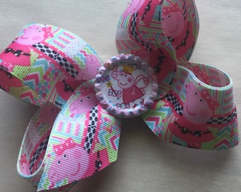 Pretty little Pig in pink girls hairbows boutique hairbows for toddler girls