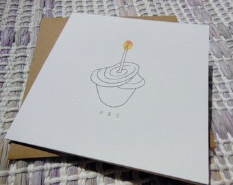 Handprinted + Handpainted CUPCAKE Card Set