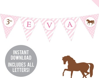 INSTANT DOWNLOAD Pony Party / Horse Party - DIY printable pennant banner - Includes all letters, plus ages 1-18