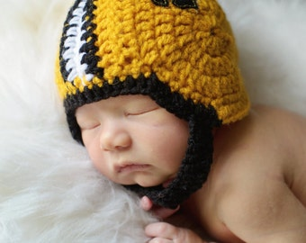 New Orleans Saints Inspired Crochet Baby Football Helmet Hat with Embroidered Logo- Newborn, 0-3 Months, 3-6 Months, 6-12 Months