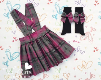 Grey & Pink Tartan Suspender Skirt and Sock Set