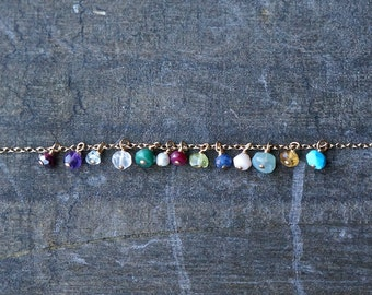 Birthstones, add a genuine gemstone to your current order, personalize your gold necklace with a tiny birthstone charm