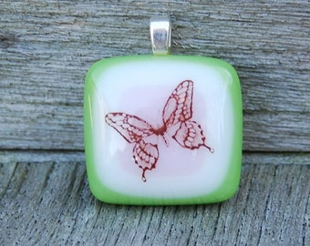SALE Butterfly Pendant Fused Glass Pendant -  Pink and Green Handmade Jewelry