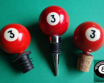 Number 3 Pool/Billiards Ball Wine Bottle Stopper
