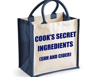 Cider Bag Shopping Bag Cook's Secret Ingredients (Shh and Cider) Medium Jute Bag Reusable Black Shopper