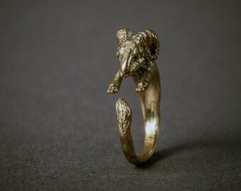 SALE Golden Ram Wrap Ring. Adjustable Ram Ring. Animal Ring. Woodland Ring. Boho Ring. Aries Ring.