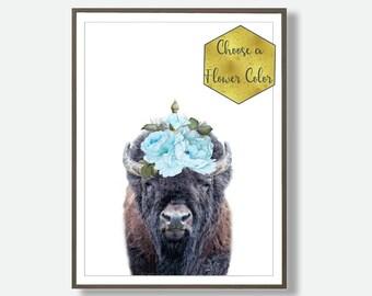 Nursery Bison, Nursery Woodland Animals, Kids Animal Wall Art, Kids Bedroom, Decor Wall Print, Watercolour Animals, Printable Nursery Animal