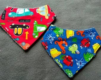 Baby Boy Bib Set - Baby Boy Bandana Bib Set - Baby Boy Gift Set - Monsters and Trucks - Reversible - Infant Boy Shower Gift Set