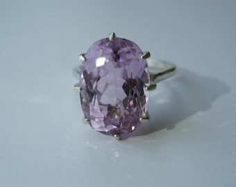 Large Intense Pink Lavender Kunzite In Sterling Silver Cocktail Ring, 9.86ct. Size 7.5