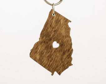 Georgia Wooden Keychain - GA State Keychain - Wooden Georgia Carved Key Ring - Wooden GA Charm